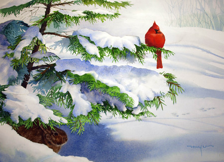 winter - snow, white, winter, tree, red, bird