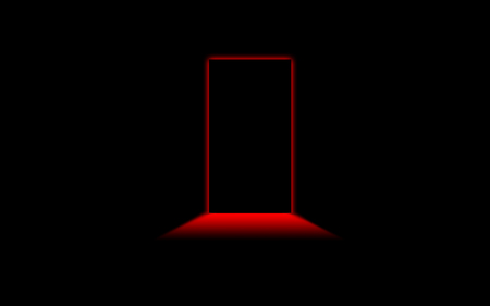 blacknred - silohuette, black, red, door