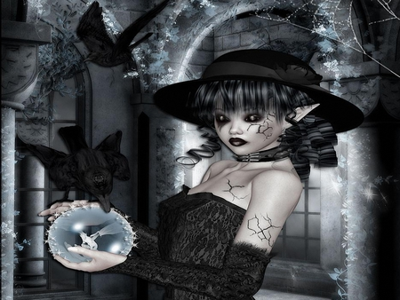 Gothic Christmas - snowball, girl, gothic, christmas, elf