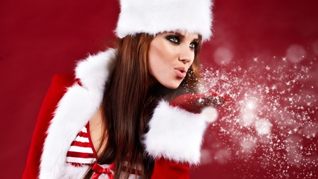 Christmas Girl - red, girl, christmas, snow, people, beautiful