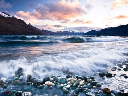 Queenstown Sunset - beach, sunset, new zealand, queenstown