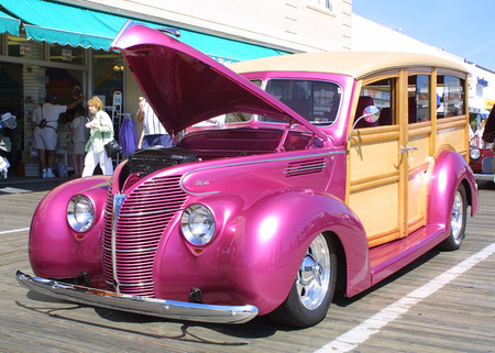 The Woodie - pink, hotrod, woodie, bright