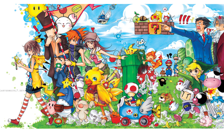 cross-over - the world ends with you, professor layton, mario bros, bomber-man, kirby, ninja town, link, ace attorney, harvest moon, pokemon, final fantasy