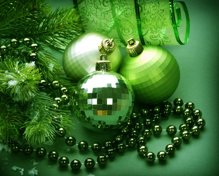 Green Balls - beauty, lovely, christmas, balls, magic, pretty, new year, green, beautiful, merry christmas, ribbon, holiday, ball, magic christmas, photography, xmas, happy new year