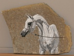 Horse sculpture in stone