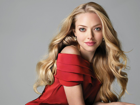 Amanda Seyfried - cute, pretty, golden hair, female, red dress, actress, long hair