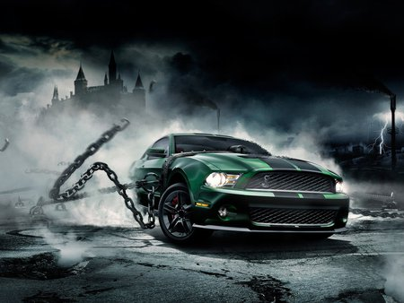 shelby unleashed - mustang, automobile, ford, car, ride, chains, fast