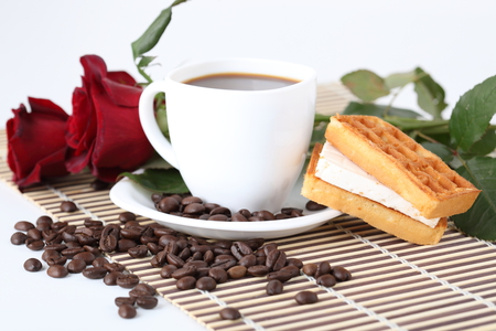 Good morning... - photo, rose, beautiful, roses, waffles, photography, nice, cool, coffee, bouquet, tasty, cup, flower, flowers, drink, harmony