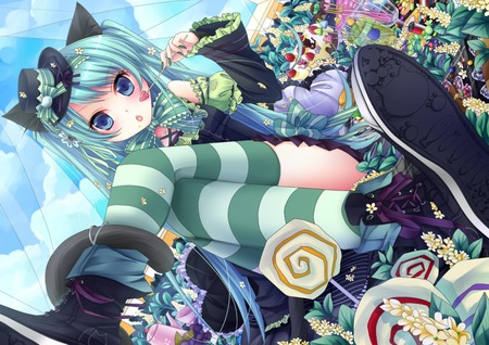 Sweet Miku - candy, cake, strawberry, sweets, hatsune miku, socks, bows, anime, hot, anime girl, vocaloids, long hair, vocaloid, striped socks, female, food, miku, sexy, twin tails, hat, cute, girl, flower
