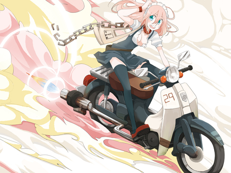 Megurine Luka - vocaloid, scooter, luka, yellow, beautiful, megurine luka, sexy, megurine, cute, hot, beauty, bike, anime girl, vocaloids, pink hair, pink
