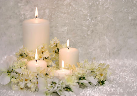 candles - gentle, bouquet, harmony, cool, candles, flowers, nice, white, flower, photography, candle, elegant, beautiful