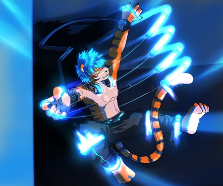 tiger light - furry, tiger, blue, light