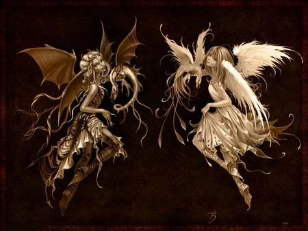 angel and devil - others, funny, fire, 3d, girl, fantasy, angel