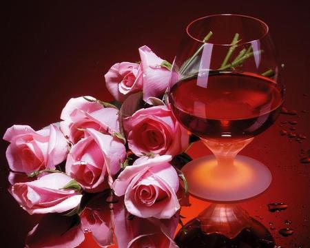Forever Young - wine, glass, pink, roses, abstract, red, youth
