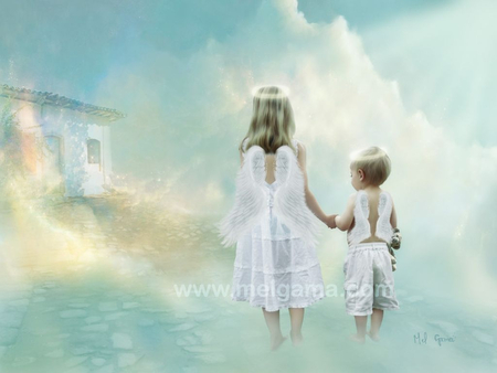 path of light - children, light, faith, angels, hope