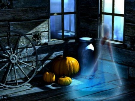The Spirit of Halloween (3D) - spirit, pumpkin, halloween, spooky, 3d and cg, ghost