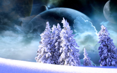 A White Christmas - stars, planets, christmas, snow, space, wallpaper, entropy, pine tree
