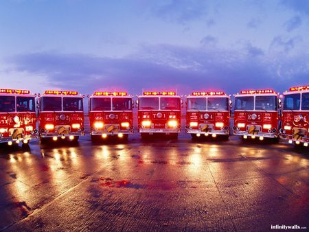 convention - wet, fire, trucks, lights