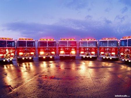 convention - fire, trucks, wet, lights