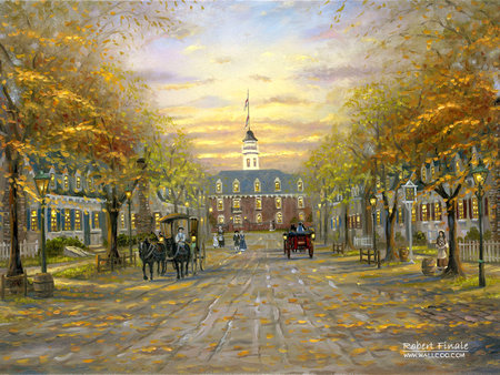 Robert_Finale_art_paintings_ColonialWilliamsberg - sunset, painting, tree, street, art, robert finale