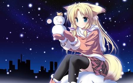 Cute Inu Girl Making A Mini Snowman Other Anime Background