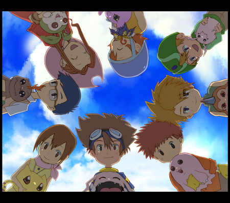 digimon adventure 02 - greymon, patamon, hikari, digimon, adventure