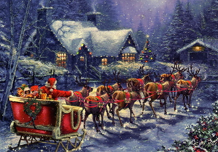 The visit - houses, snow, christmas, sleigh, lights, santa, reindeer, trees