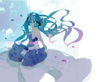 Hatsune Miku - pretty, clouds, nice, anime, aqua, beauty, anime girl, vocaloids, art, twintail, miku, sky, singer, sexy, aqua eyes, cute, formal, hatsune, cool, purple, awesome, white, idol, dress, hatsune miku, white clouds, beautiful, program, painting, hot, blue, vocaloid, music, diva, song, girl, drawing, virtual, blue sky, aqua hair
