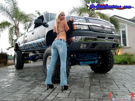 Hot Blonde & Chevy Truck - sexy, hot, model, chevy