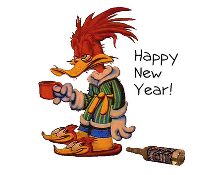 Morning of January 1 - botle, coffee, unwell, morning, robe and slippers, happy new year, woodpecker