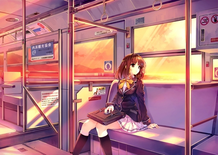 Going Home - window, brown hair, bag, brown eyes, short hair, train, girl, anime, school uniform