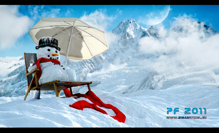 Happy Holidays! - red, holidays, umbrella, abstract, sky, snowman, clouds, winter, snow, beauty, 2011, chair, popular, white, blue, north pole