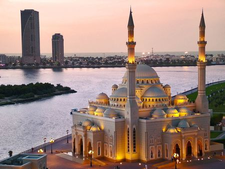Beautiful evening - view, uae, dusk, sunset, lake, lights, sharjah, city, water, mosque