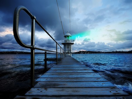 Blue lighthouse - jetty, pier, storm clouds, hdr, lighthouse, sea, blue, light