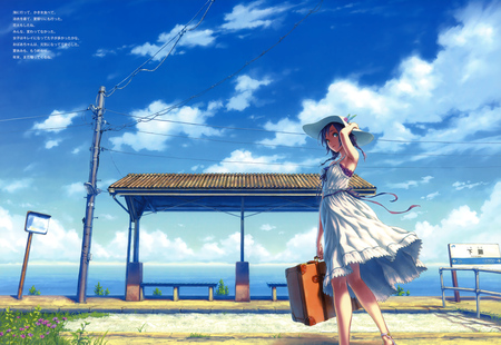 Bus Stop - dress, bus stop, cg, clouds, anime, flowers, blue, seat, ocean, purple hair, hisakata, sign, sky, purple, white dress, white, souj