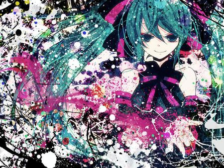 Hatsune Miku - pretty, nice, anime, aqua, beauty, anime girl, vocaloids, art, twintail, black, miku, singer, sexy, abstract, aqua eyes, cute, hatsune, cool, awesome, white, idol, artistic, colorful, hatsune miku, bow, beautiful, program, painting, contrast, hot, pink, vocaloid, music, diva, song, girl, splat, drawing, virtual, aqua hair