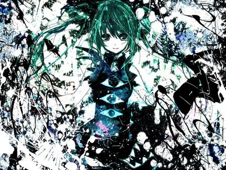 Hatsune Miku - pretty, nice, anime, aqua, beauty, anime girl, vocaloids, art, twintail, black, miku, singer, sexy, abstract, aqua eyes, cute, formal, hatsune, cool, awesome, white, idol, artistic, colorful, hatsune miku, beautiful, program, green, painting, contrast, hot, blue, vocaloid, music, diva, song, girl, drawing, virtual, aqua hair