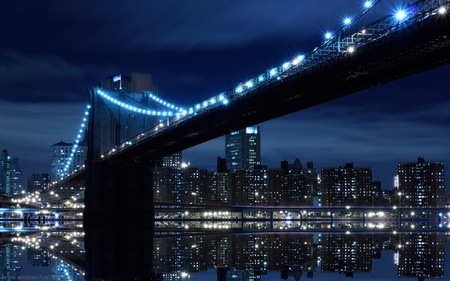 Bridge in USA - blue, light, lake, town, bridge, water, dark, buildings, night, black