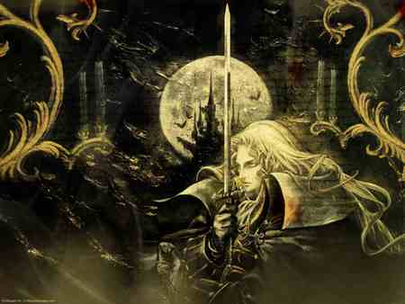 castlevania - castle, moon, dark, sword, man, woods