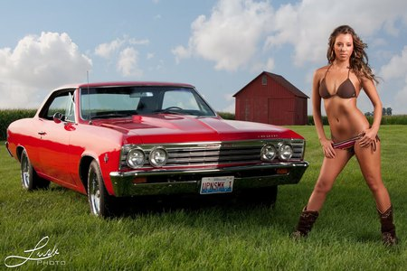 1967 Chevrolet Chevelle and model - girl, model, chevelle, chevy, classic