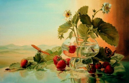 View - window, flowers, strawberries, vase, butterflies, mountins, insects