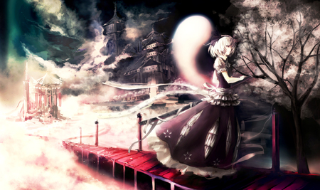 Youmu Konpaku - dress, youmu konpaku, sakura tree, spirit, paintings, ghost, anime, touhou, tohou collection, silver hair, lady, castle, night