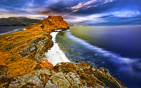 The Golden Highland - highland, beach, blue, sea, coral reef