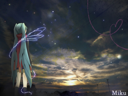 Hatsune Miku - pretty, sun, sunset, clouds, nice, anime, aqua, beauty, anime girl, vocaloids, realistic, art, twintail, real, skirt, black, miku, sky, singer, sexy, abstract, trees, cute, hatsune, cool, heart, scarf, awesome, white, idol, artistic, hatsune miku, white clouds, beautiful, program, contrast, hot, scenery, vocaloid, stars, horizon, music, diva, song, girl, virtual, gray clouds