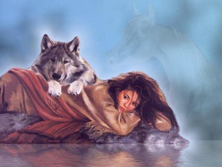 girl and wolf - girl, indian, painting, wolf, woman