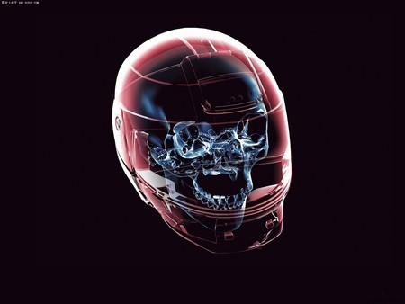 3D skull - color, skull, neon, abstract, x-ray, helmet, helm, 3d