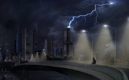 dark city - fantasy, city, dark, black, lightning