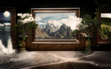 FRAMED NATURE - frame, naturemcascade, mice, fog, moon, plants, creeps, mist, mountain
