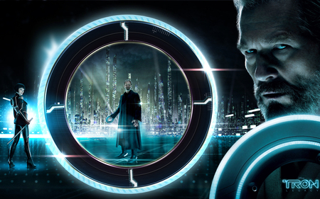 Tron Legacy - currla, enter, blue, legacy, world black, disc, tron, grid