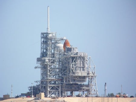 Shuttle On Pad - shuttle, aircraft, sky, space